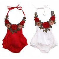 Wholesale White Sleeveless Onesies - 2017 Girls Baby Childrens Rompers Summer Halter Newborn Onesies Clothing Toddler Embroidery Toddler Romper Infant Bodysuit Boutique Clothes