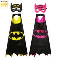 Wholesale Batman Costume Cape - 70*70Cm Halloween Costumes Cape Clothing Comics Super Hero Batman Cartoon Capes Cute Costumes For Kids Halloween Party Decoration 2 Colors