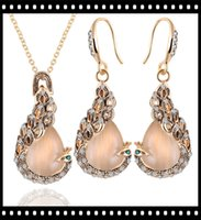 Wholesale Cheap Wedding Gifts Online - 2017 Wholesales 3PCS gold jewelries set online shop cheap crystal necklace earring peacock jewelry for women