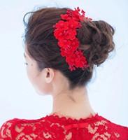 Wholesale Hair Accessorie Flowers - Wedding Bridal Bridesmaid handmade Lace Red Flower Pearl Crown Wedding Supplies Headdress Beautiful Headdress Bridal Hair Jewelry Accessorie