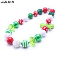 bow fashion necklace venda por atacado-MHS.SUN Moda Arco Kid Chunky Colar Mais Novo Natal Crianças Meninas Bubblegum Bead Chunky Colar de Jóias Presente Para As Crianças