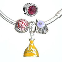 Wholesale Beads Chips - 2017 New Crystal Belle's Radiant Rose Beads Women Mrs. Potts & Chip Charms Sterling 925 Real fit Original Pandora Bracelets Diy jewelry