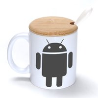 Wholesale Android Ceramic - Android robot Mug Coffee Milk Ceramic Cup Creative DIY Gifts Mugs 11oz With Bamboo cover lid Spoon S220