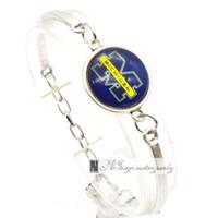 Wholesale Wholesale Michigan - 2017 Fashion Bracelet&Bangle Michigan Wolverines NACC University Team Sport Charms Bracelet for Women Fan Jewelry SP018