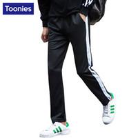 Wholesale Wholesale Sportswear For Men - Wholesale- Side Striped Casual Pants Mens Joggers Sweat Pants for Men Straight Cotton Sportswear Trousers 6 Multi Colors Pantalones Hombre