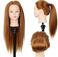 """Wholesale Cosmetology Doll Heads - 22""""Mannequin Head Hair Yaki Synthetic Maniqui Hairdressing Doll Heads Cosmetology Mannequin Heads Women Hairdresser Manikin Sale"""