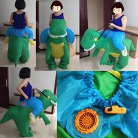 Wholesale Inflatable Light Stars - SX0930 light and easy to wear inflatable green dinosaur mascot costume in green for adult to wear Halloween holiday