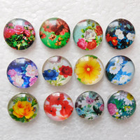 Wholesale Love Rose Glass Wholesale - Rose Sunflowers 18mm Noosa chunks Glass Snap Button Snaps Jewelry Buttons For Ginger Snap Bracelets
