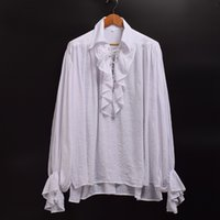 Wholesale Colonial Costumes - Unisex Women Men Vampire Colonial Gothic White Shirt Ruffled Renaissance Medieval Poet Pirate Blouse Long Sleeve Tops
