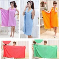 Wholesale Women Spa Towel Wrap - Bath Towels Home Bathroom 155X80CM Women Soft Superfine Fiber Magic Wearable Fabric Beach Towels Shower Spa Body Wrap Bath Towel Absorbent