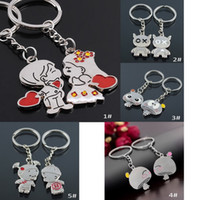 Wholesale Lock Key Couples Jewelry - Casual Couple Love Keychain Cartoon Key chain Lovers Key ring Women Wedding Favor Jewelry Accessory Valentines Gift DHL Free Shipping