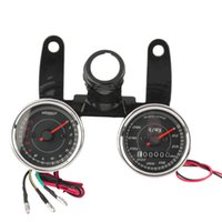 Wholesale Motorcycle Odometer Speedometer Tachometer - Newest 12V 0-180km h Universal LED Motorcycle Tachometer + Odometer Speedometer Gauge With Bracket Hot Selling