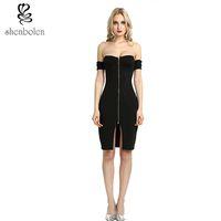 Wholesale Tight Cotton Red Dress - bodycon dresses 2017 Sexy Party Off Shoulder Black Front Zip and Slit Tight Wrap Dress vestido de festa curto