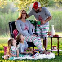 Wholesale Red 12 Mo Dresses - Hot Selling Christmas Family Matching Pajamas Set Dad Mum Kids sets Adult Kid fashion Dress girls boys Nightwear Cotton top Sleepwear A7716