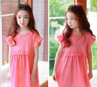 Wholesale Super Cute Korean - 2017 new styles Hot sell Super cute summer the Middle childhood College Korean style Princess sleeve Dress skirt girls Dress 100% Cotton