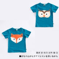 Wholesale Owl T Shirt Kids - 2017 INS NEW ARRIVAL Boys Girls Kids t shirt short Sleeve round collar cartoon fox and owl print t shirt kid baby summer cool casual T shirt