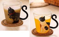 Barato Chá De Vidro Caneca-Hot Cute Creative Cat Kitty Glass Mug Tea Cup Milk Coffee Cup Música / Dots / English Words Home Office Cup