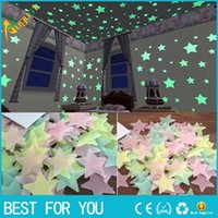 Novo quente 100pcs / set 3D Star Glow In The Dark Luminous Wall Wall Wall Stickers para crianças Baby Bedroom DIY Party Christmas Decoration