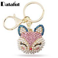 çanta taklitleri toptan satış-Beijia Şanslı Gülümseme Fox Kristal İmitasyon İnci Anahtarlık Araba Çanta Kolye Parti Hediye Için Anahtarlıklar Anahtarlıklar Tutucu K216