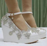 Wholesale Platform Wedge Bridal Shoes - US4-11 Women's Wedding Bridal Rhinestones Platform Wedge Heel Pumps White Dress Shoes Ankle Buckle Glitter Diamonds Princess Lolita XWX13392
