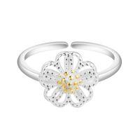 925 dame ring blume großhandel-5pcs / lot echtes 925 Sterlingsilber-Ringe für Dame Fashion Accessories Justierbare elegante Blumen-Dame Rings