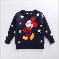 Wholesale Mouse Children Sweater - Cute Kids Sweaters 2017 New Spring Autumn Boys Girls Cartoon Knitted Mickey Mouse Sweatshirts Children Stars Printed Pullover 5pcs lot