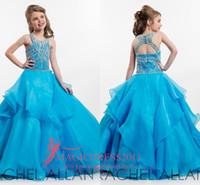 Wholesale Allan Line - 2016 Rachel Allan Girl's Pageant Dresses Ball Gown Jewel Crystal Flower Girls Dresses For Wedding Blue Cheap Floor Length Kids Formal Wear