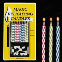 festliche geburtstagskuchen großhandel-Magische lustige relighting Kerze Witz Geburtstag Party Kerzen Kuchen Zubehör Weihnachten festlichen Urlaub Hochzeit liefert Gefälligkeiten
