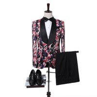 Wholesale Tuxedo Gorgeous Suits - Gorgeous Flower Pattern Men Suits Custom Black Shawl Lapel Groom Tuxedos Wedding Best Man Blazer Suits (Jacket+Pants)