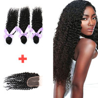 Wholesale kinky curly brazillian hair - Top Lace Closures With 3 Bundles Brazilian Virgin Hair Weaves Malaysian Indian Peruvian Cambodian Brazillian kinky curly Human Hair wefts