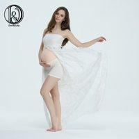 Wholesale Stretch Lace For Gowns - (170cm) Maternit Lace Shoot Split Front Style Gown Free Size Stretch Maternity Dress for Photo Props Baby Shower Gift without Shorts