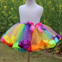 Wholesale Pettiskirt High Quality - rainbow color Girls Tutu Skirts ribbon Beaded Bow Lace Dance Kids Skirt Cute Children Princess Pettiskirt Summer High Quality Skirt C1574