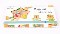Wholesale Animal Dominoes - Wholesale- Free delivery,wooden toy,animal puzzles domino,15 PCS cartoon animals matching domino,Learning and education of baby toy