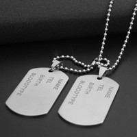 Wholesale Heart Name Tags - Army Tags Necklace 2 Pieces Men'S Military Army Stainless Steel Blank Double Dog Tag Name Necklace Beads Chain For Men Jewelry