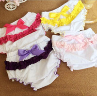 Wholesale Lace Bloomers For Toddlers - NEW cotton baby girl bloomers bloomers kids infant diaper covers lace bowknot shorts for toddler photography clothing