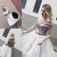 Wholesale Satin Bow Corset - Sexy Off The Shoulder Short Prom Dresses 2017 Satin And White Lace Knee Length Evening Gowns Corset Back Homecoming Party Dress