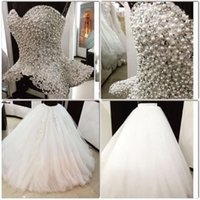 Wholesale ball skirt two piece for sale - Luxury Sexy Two Pieces Wedding Dresses Sweetheart Sleeveless Pearls Beading Tulle Ball Gown Bridal Wedding Gowns vestido de noiva