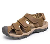 Wholesale Sandal Plus Size - 38-46 Summer Men Sandals Plus Size Genuine Leather Sandals Men Large Size Brown Khaki Green G373