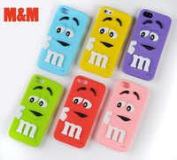 Wholesale Iphone Case Cut - Cut Cartoon Rubber M&M Fragrance Chocolate Bean Case Soft Silicon M Rainbow Cover For iPhone 4 4S SE 5 5S 5C 6 6S 7 7S & Plus