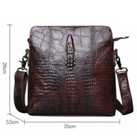 Wholesale Handmade Brown Leather Bag - Guarantee Genuine Leather Men Bags Handmade Alligator Famous Brand Design Messenger Bag High Quality Man Brands Bags
