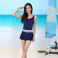 Wholesale Black Swimsuit One Piece Small - Wholesale hot spring bathing suit ms boxer l conservative type Show thin belly small chest together swim students swimsuit