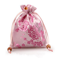 Wholesale Small Silk Jewelry Packaging - Cherry blossoms Small Cloth Bags Drawstring Silk Satin Gift Packaging Bag Jewelry Cosmetic perfume Storage Pouch Candy Tea Pocket with Lined