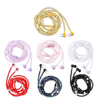 Wholesale Red Pearls Necklace - Luxury Rhinestone Jewelry Pearl Necklace Earphones With Microphone Pink Girl Earbuds Headphone For Iphone HuaWei XiaoMi Best Girft