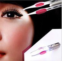 Wholesale Wholesale Eyebrow Tweezers - LED TWEEZER Eyebrow Tweezers Lightweight Stainless Steel Handy LED Light Eyelash Eyebrow Hair Removal Tweezers Makeup Tool X011