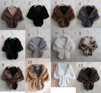 Wholesale Cotton Shrugs - Fashion Elegant Bridal Wedding Faux Fur Long pashmina Stole Wrap Shrug Scarf winter women neckerchief Fake fur shawl muffler