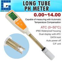 Wholesale temperature ph - 869-2 Digital 14.00 pH Long Tube Self Calibration One Touch 12cm Probe pH Temperature ATC Pen type Meter IP65