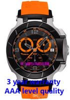 t rennen chronographen quarz großhandel-Kostenloser Versand Herren T048-Quarz-Uhr T048.417.27.057.04 T-Sport T-Race MotoGP Schwarz Orange Dial CHRONOGRAPH T0484172705704