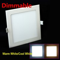 Wholesale Energy Saving Ceiling Led Panel - Wholesale- Free shipping Dimmable LED Downlight 3W 4W 6W 9W 12W 15W 25W Square Ultrathin SMD 2835 Ceiling Panel Lights white   Warm White