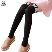 Wholesale College Girls Sexy - Wholesale- Girls Knee High Stockings College Style Striped Over Knee Socks Winter Warm Thigh High Socks High Stretch Nylon Pantyhose Socks