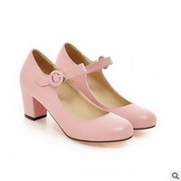 Wholesale Wedge Mary Jane Shoes - 2017 Women Shoes Mary Jane Ladies High Heels White Wedding Shoes Thick Heel Pumps Lady Shoes Black Pink Beige Plus Size 43